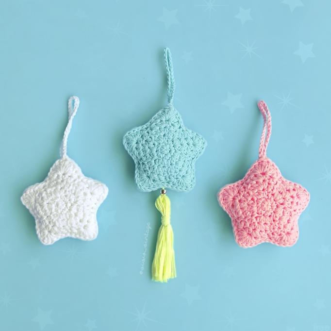 Patrón gratis colgante llavero estrella crochet