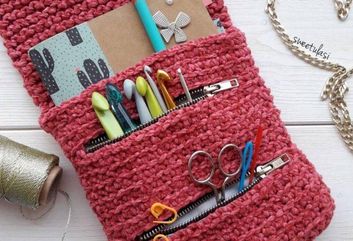 Patrón gratis estuche crochetero crochet