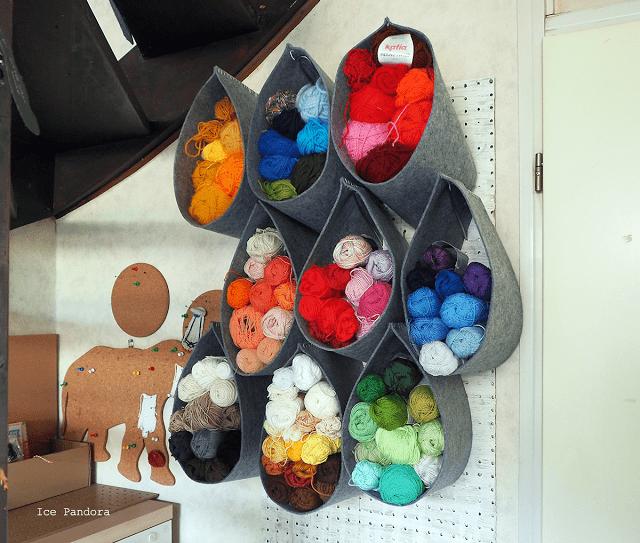 Organizador lanas pared