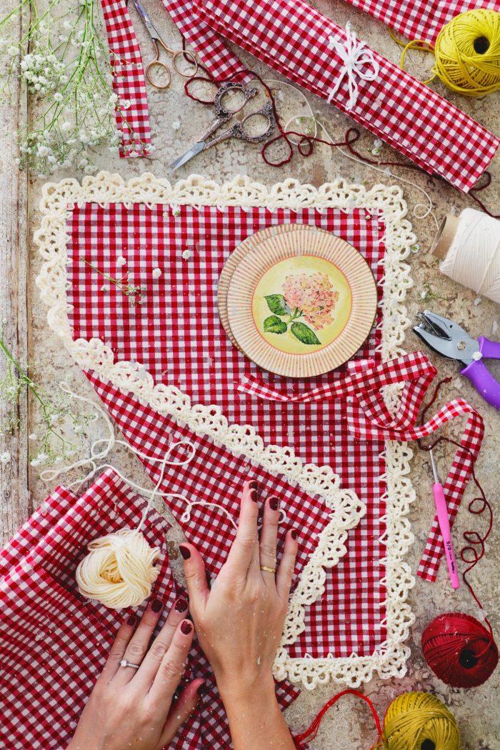 Patrón gratis ribete crochet mantelería vintage