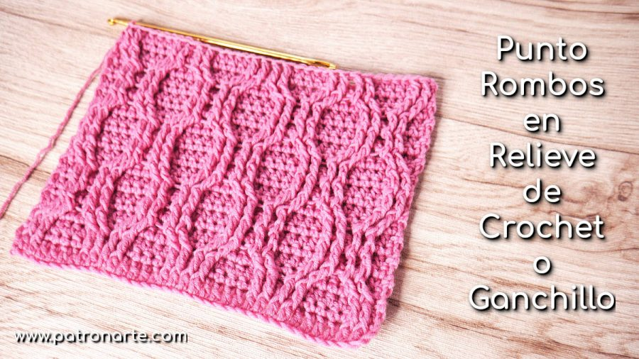 Punto rombos en relieve a crochet