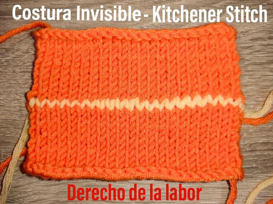 Costura invisible, kitchener stitch derecho labor