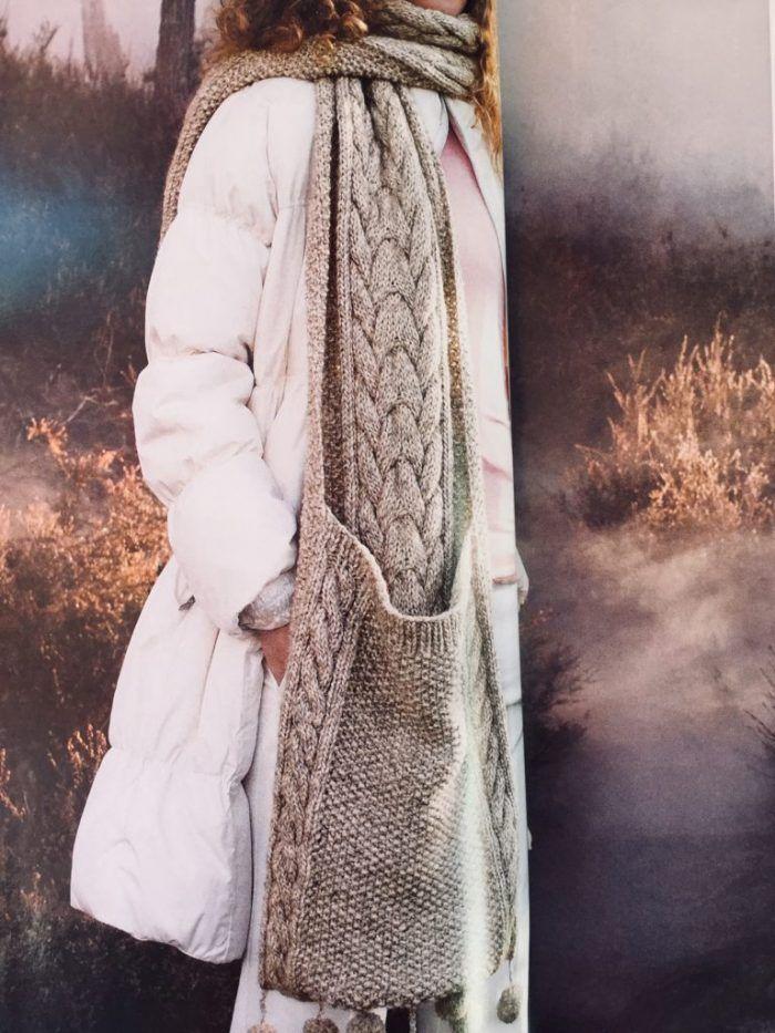Patrón gratis bufanda con bolsillos dos agujas