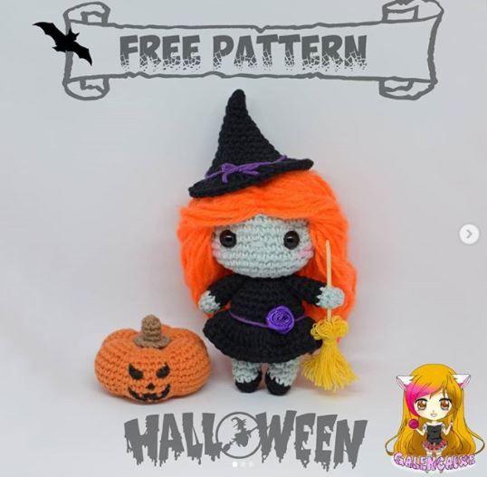 Patrón gratis brujita Halloween amigurumi crochet