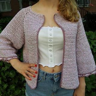Patrón gratis chaqueta kimono crochet