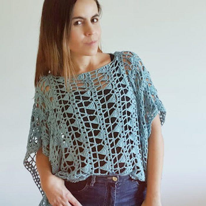 Patrón gratis blusa calada crochet