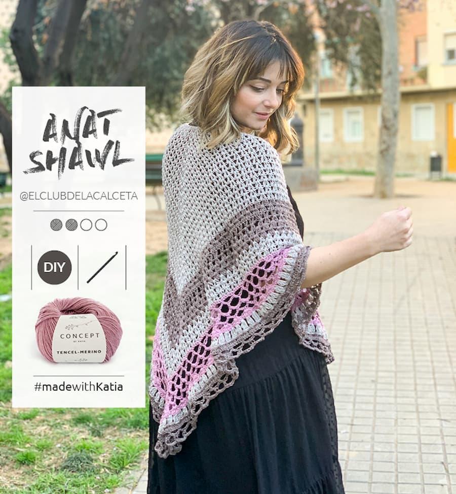 Patrón gratis chal calado crochet