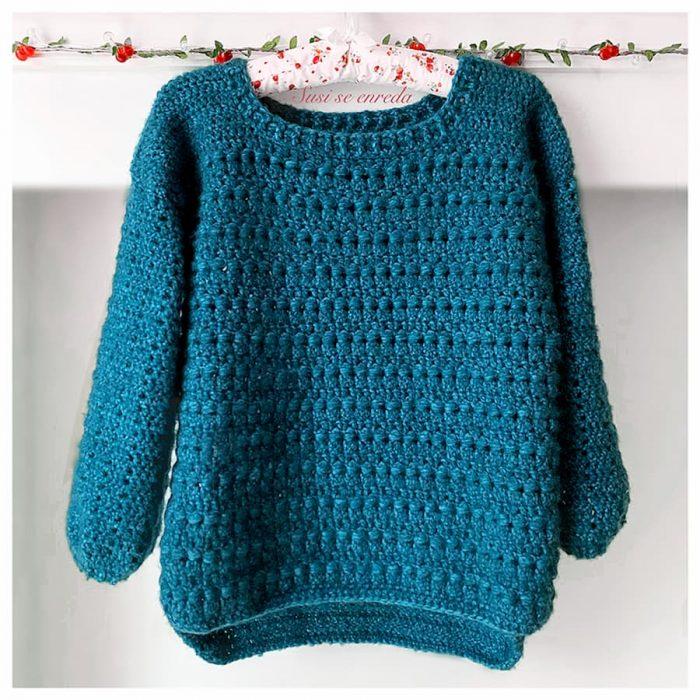 Patrón gratis jersey crochet