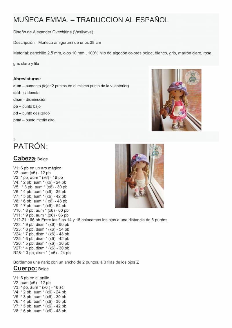 Patrón español Muñeca Emma 1