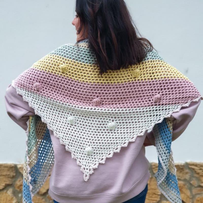 Patrón gratis chal burbuja crochet