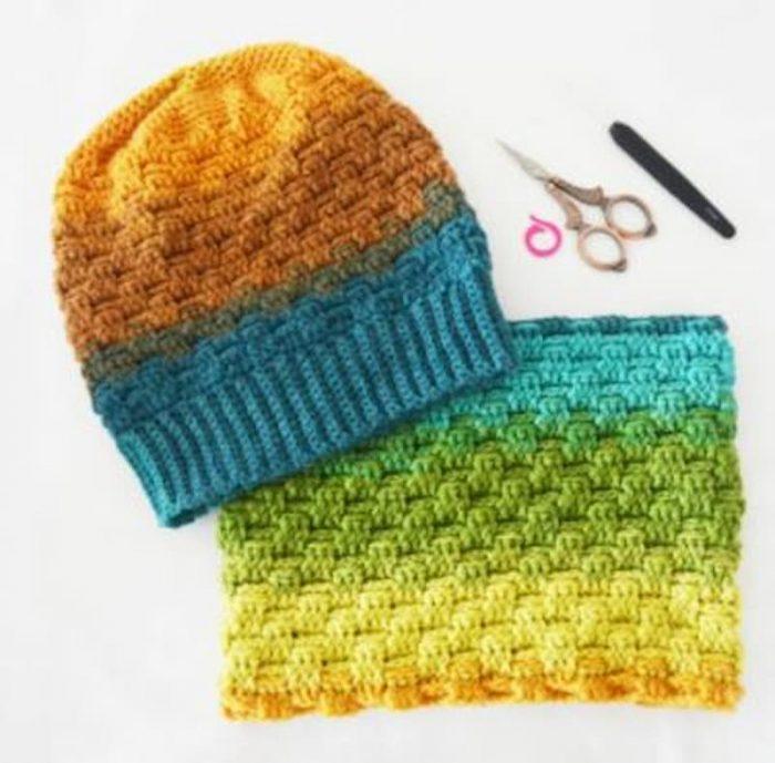 Patrón gratis cuello y gorro crochet