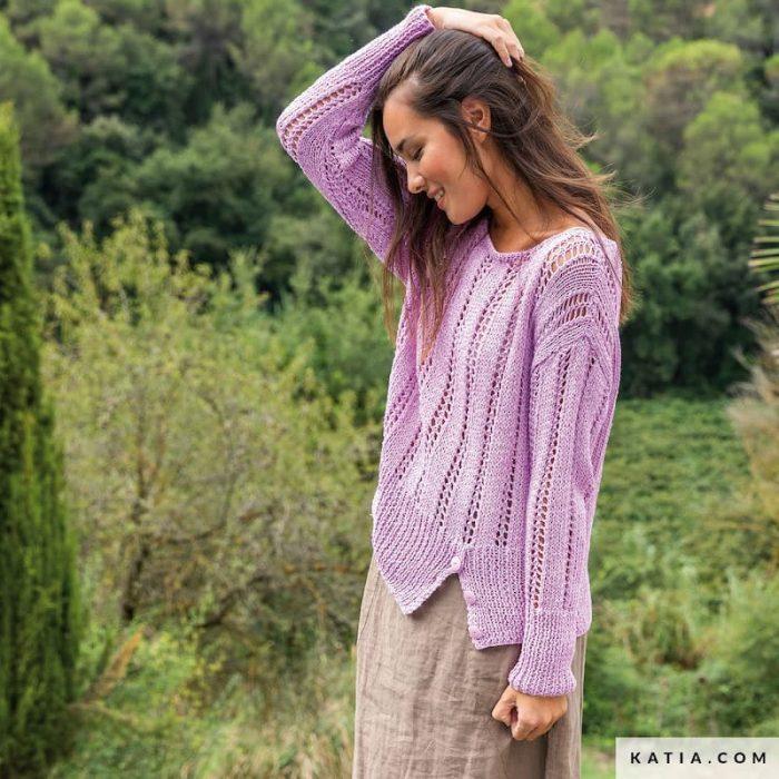 Patrón gratis suéter lineas caladas dos agujas