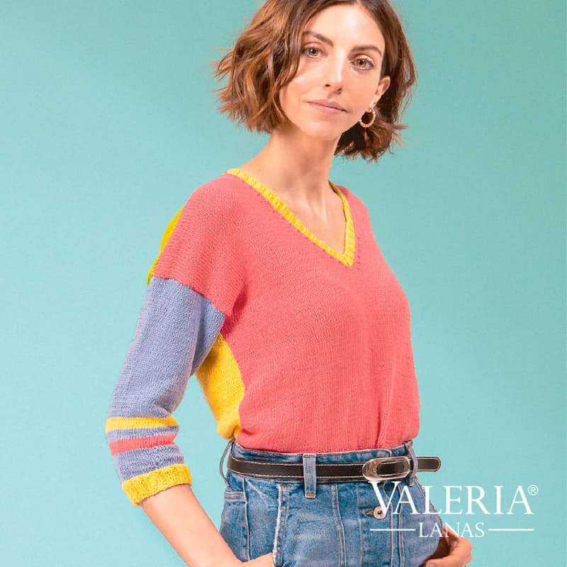 Patrón gratis sweater Pamela dos agujas