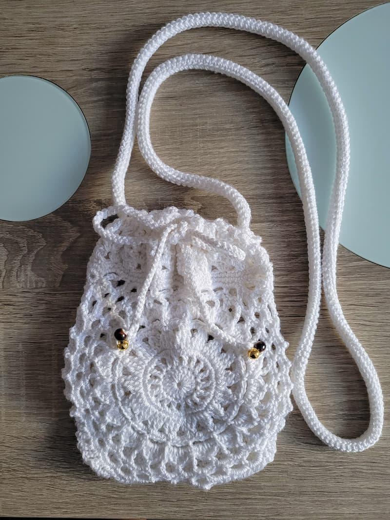 Bolso verano mini blanco crochet