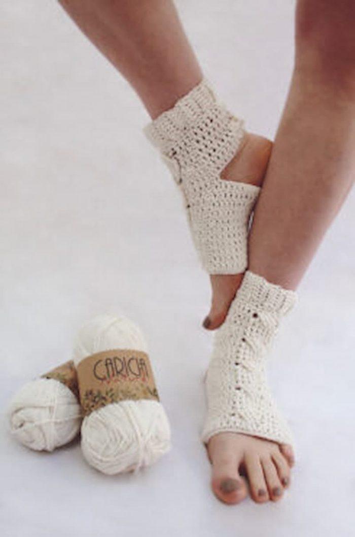 Patrón gratis calcetín para yoga a crochet