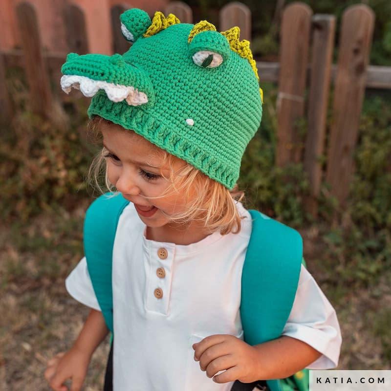 Patrón gratis gorrosaurio crochet